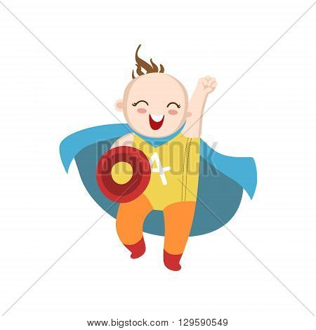 Boy Dressed As Superhero With Shield Funny And Adorable Flat Isolated Vector Design Illustration On White Background