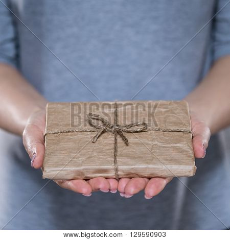 Female hands with simple wrapped gift vertical