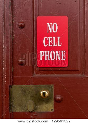 Red Sign For No Cell Phone Usage
