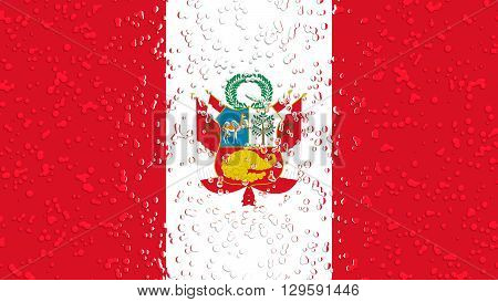 Flag of Peru, Peruvian Flag painted with water drops