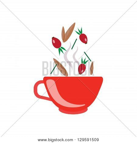 Hibiscus Tea In Red Cup Flat Bright Color Simplified Vector Drawing On White Background