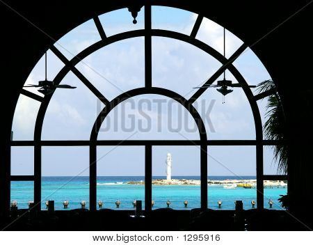 A View Of The Carribean Threw A Spectacular Window.