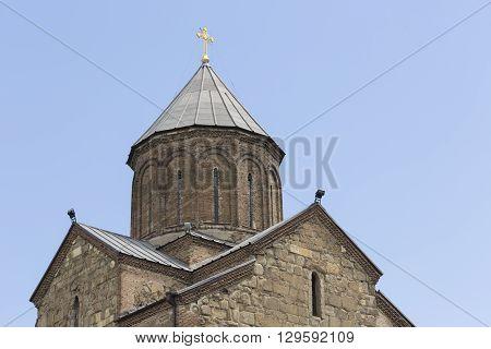 Tbilisi, Georgia - May 2016: Gorgasali Monument. Metekhi Cathedral. Tbilisi Center. Georgia Country.