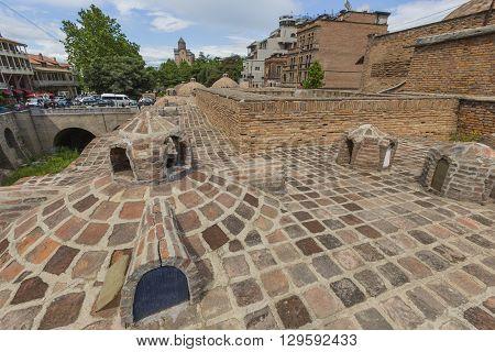 Tbilisi, Georgia - May 07, 2016: Sulphur Baths In Abanotubani District Of Tbilisi, Georgia