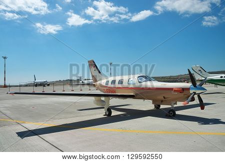 Gelendzhik Russia - September 10 2010: Piper PA-46 Malibu light turboprop passenger plane on the apron in the airport
