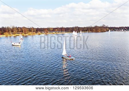 Aerial from sailing at Loosdrechtse plassen in the Netherlands