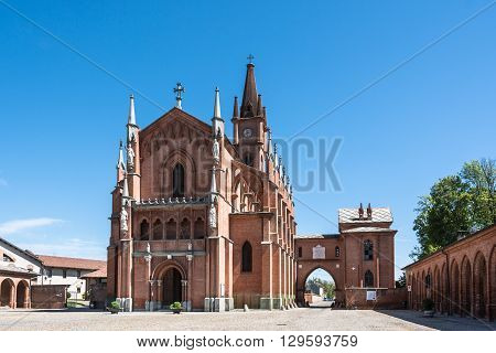 Pollenzo,Italy,Europe - May 3, 2016 : The Gothic Church of San Vittone and the Vittorio Emanuele Square