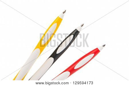 the pens isolated on white rollerball background