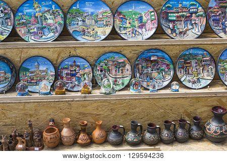 TBILISI GEORGIA 07 MAY 2016: Ceramic souvenirs