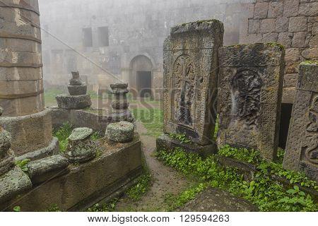 historical Tatev monastery in Armenia. Travel atraction