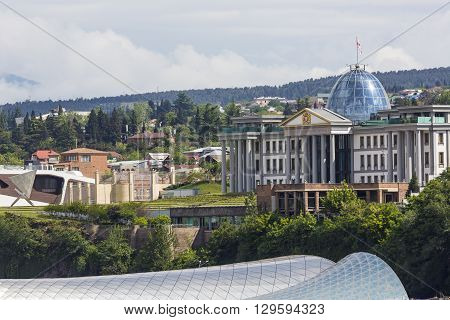 Tbilisi, Georgia - May 07, 2016: Theater Of Music And Drama, Exhibition Hall And Presidential Palace