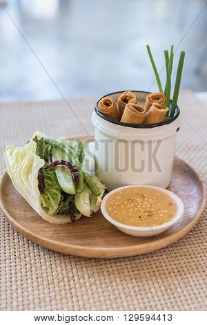 Plate Of Spring Rolls With Sweet Chili Dip Sauce
