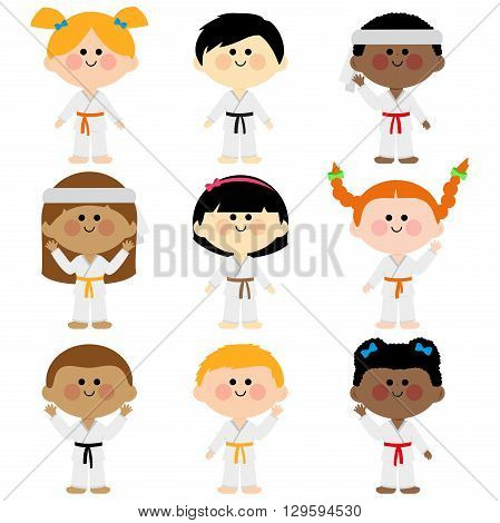 Children wearing martial arts uniforms: karate, Taekwondo, judo, jujitsu, kickboxing, or kung fu suits vector set