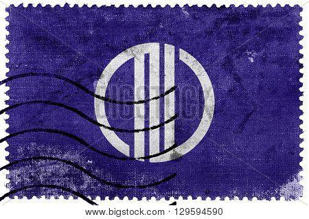Flag Of Sendai, Japan, Old Postage Stamp