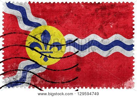 Flag Of St. Louis, Missouri, Old Postage Stamp