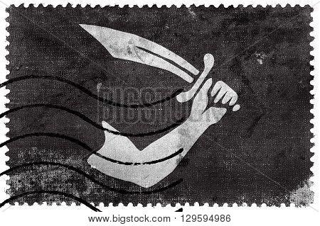 Thomas Tew Pirate Flag, Old Postage Stamp