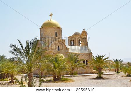 BETHANY JORDAN JULY 24 2015:Greek Orthodox Church. On the banks of the Jordan river near the place where Jesus was baptised.