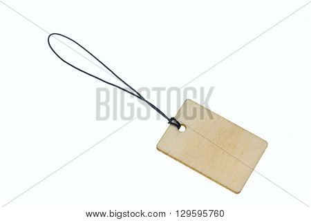 Wooden board on rope.Isolated