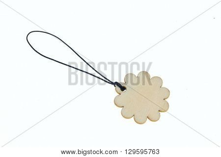 Flower shaped label on rope.Isolated