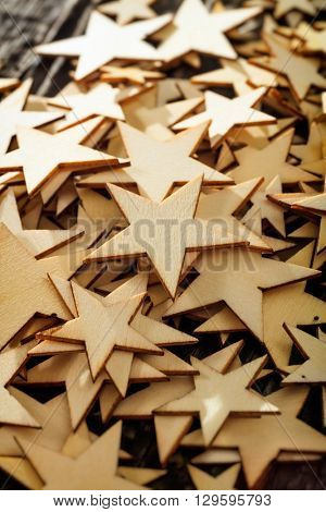 Close-up of pile of wooden stars