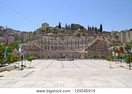 AMMAN JORDAN - JULY 21 2015: Roman amphitheater in Amman Jordan. The theater was built during the reign of Antonius Pius (138-161)