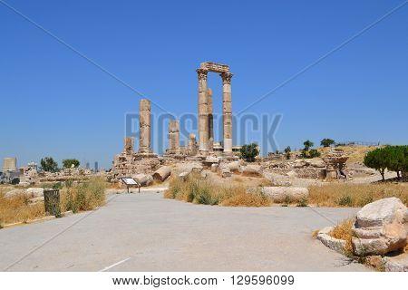 The Temple of Hercules at the Citadel of Amman Jordan