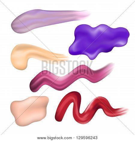 Nail Polish Smears. Red Pink Violet Brown Lilac Nail Enamel Dab. Vector Illustration