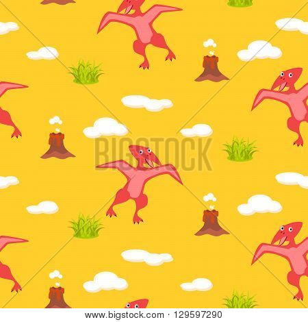 Pterodactyl kid seamless vector pattern for textile print. Red happy cartoon dino reptile with clouds and volcano on yellow. Baby fabric pattern.