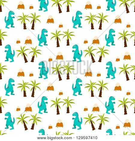 Dinosaur kid seamless vector pattern for textile print. Green and blue happy cartoon dino reptile with jungle trees on white. Baby fabric pattern.