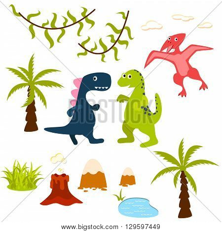 Dinosaur and jungle tree clipart set. Pterodactyl, t-rex, brontosaurus, palm, lake, liana and volcano. Dino clip-art for kids.