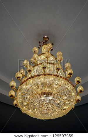 Closeup decorations of Chrystal chandelier luxury style