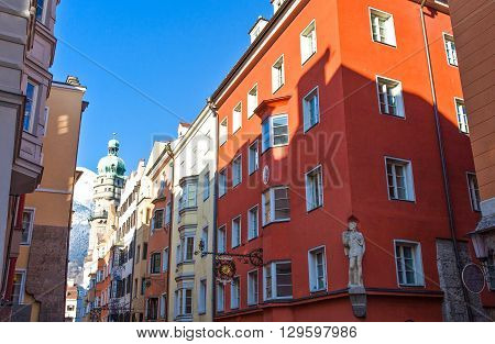 Innsbruck Austria - February 8 2010: The traditional architecture of Friedrich Strasse