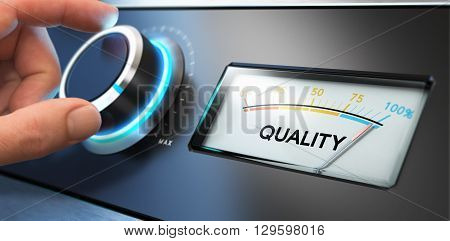 Image compositing between photography and 3D background. Hand turning a knob with a dial on the right side blur effect. Concept of TQM Total Quality Management or improvement.