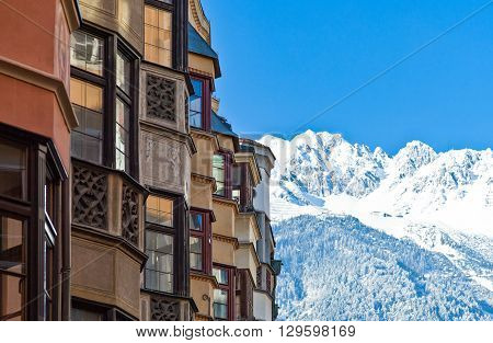 Innsbruck Austria - February 8 2010: View of the snowy mountains from Herzog strasse