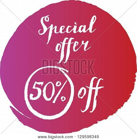 Special offer fifty % off hand drawn vector Illustration