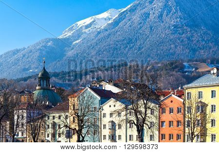 Austria Tyrol Innsbruck the Mariahilf strasse colored houses on the Inn river