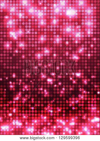 Pink vector neon metallic mosaic with spots light. Bright sparkling base for your design. Abstract glitter background for decoration party, disco flyers, posters, banners, advertisement, wrapping