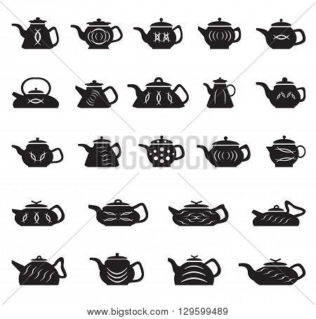 Teapot Chinese Japanese Asian Oriental. Vector set of icons kettle of different shapes and sizes.