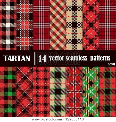 Seamless set tartan pattern. Lumberjack flannel shirt inspired. Seamless tartan tiles. Trendy tartan hipster style backgrounds. Vector file's pattern swatches