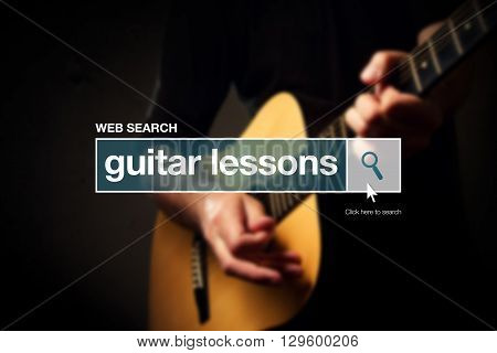 Guitar lessons web search box glossary term on internet