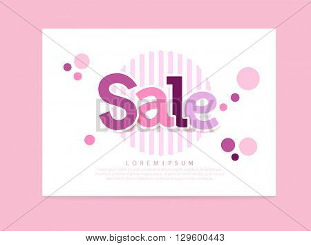 Sale Abstract vector card. pink and purple letters sale, strips & circles. EPS 10 illustration