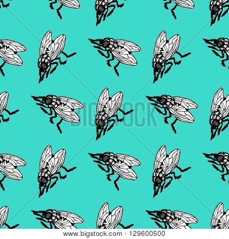 Seamless pattern with insects. Various bugs in the pattern