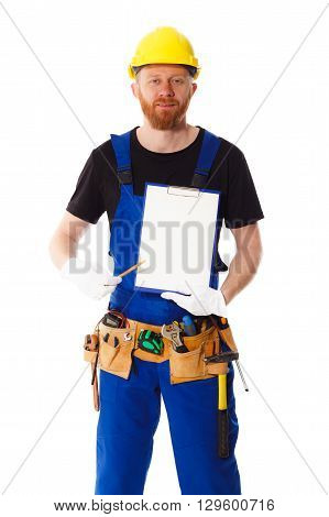 Man Builder In The Uniform With Clipboard