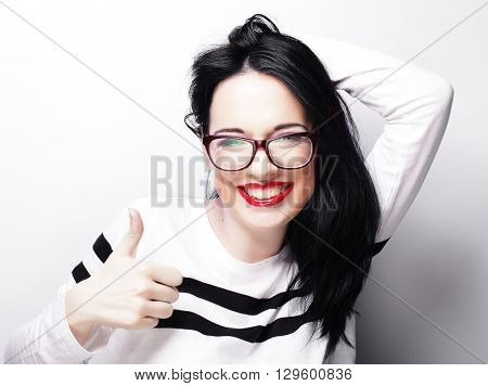 Young cute smiling brunette girl