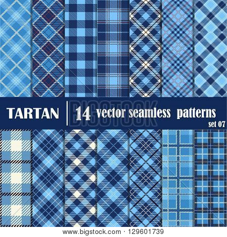 Set tartan seamless pattern in blue colors. Lumberjack flannel shirt inspired. Seamless tiles. Trendy hipster style backgrounds. Vector file's pattern swatches