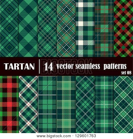Set tartan seamless pattern in green colors. Lumberjack flannel shirt inspired. Seamless tiles. Trendy hipster style backgrounds. Vector file's pattern swatches
