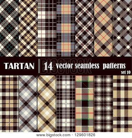Set tartan seamless pattern in gray and yellow colors. Lumberjack flannel shirt inspired. Seamless tiles. Trendy hipster style backgrounds. Vector file's pattern swatches