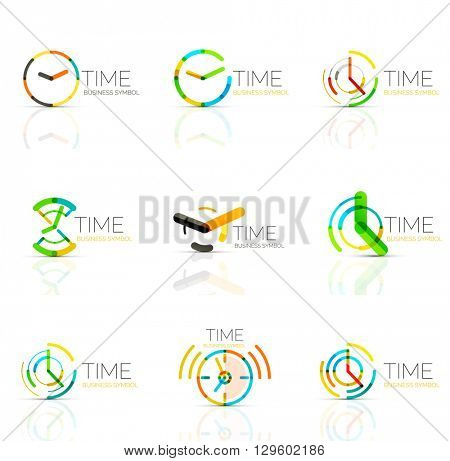 Geometric clock and time icon logo set. Thin line geometric flat style symbols or logotypes. Business time management, running time idea, timing concept
