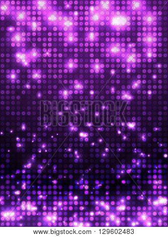 Violet vector neon metallic mosaic with spots light. Bright sparkling base for your design. Abstract glitter background for decoration party, disco flyers, posters, banners, advertisement, wrapping