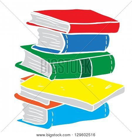 pile of books cartoon illustration
